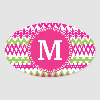Personalized Monogram Tribal Pattern Pink Chevron Oval Sticker