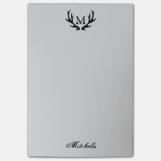 Personalized monogram vintage deer antlers logo post-it notes