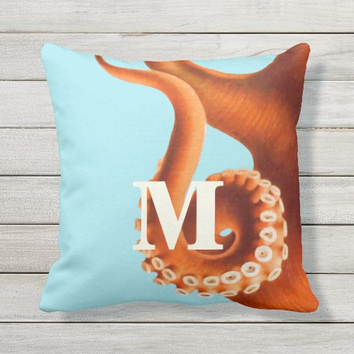 Personalized Monogram Vintage Octopus Illustration Pillow