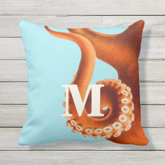 Personalized Monogram Vintage Octopus Illustration Throw Pillow
