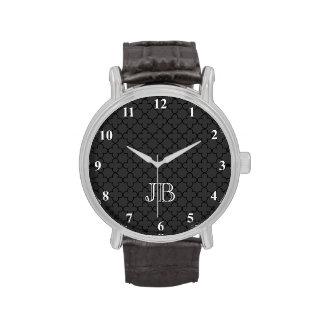 Personalized monogram watch for men Quatrefoil