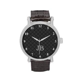 Personalized monogram watch for men | Quatrefoil