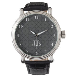Personalized monogram watch for men | Quatrefoil
