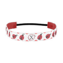 Personalized monogram watercolor Ladybugs Athletic Headband