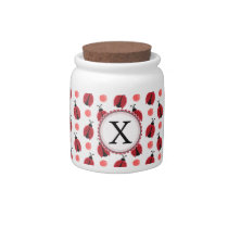 Personalized monogram watercolor Ladybugs Candy Dishes