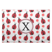 Personalized monogram watercolor Ladybugs Cloth Placemat