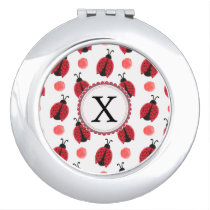 Personalized monogram watercolor Ladybugs Compact Mirror