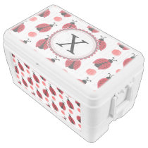Personalized monogram watercolor Ladybugs Ice Chest