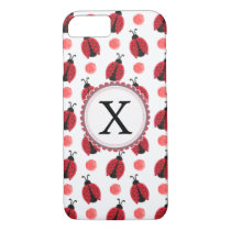Personalized monogram watercolor Ladybugs iPhone 8/7 Case