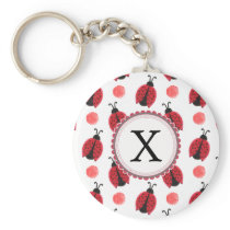 Personalized monogram watercolor Ladybugs Keychain