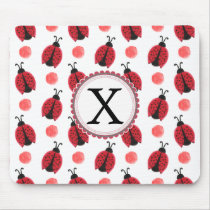 Personalized monogram watercolor Ladybugs Mouse Pad