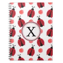 Personalized monogram watercolor Ladybugs Notebook