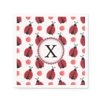 Personalized monogram watercolor Ladybugs Paper Napkin