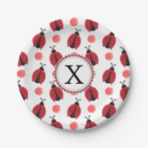Personalized monogram watercolor Ladybugs Paper Plate