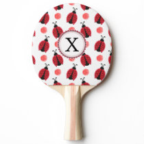 Personalized monogram watercolor Ladybugs Ping-Pong Paddle