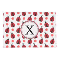 Personalized monogram watercolor Ladybugs Placemat