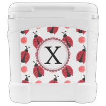 Personalized monogram watercolor Ladybugs Rolling Cooler