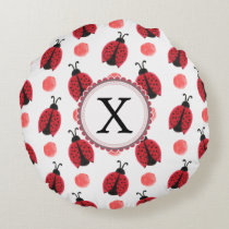 Personalized monogram watercolor Ladybugs Round Pillow