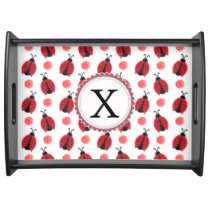 Personalized monogram watercolor Ladybugs Serving Tray