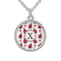 Personalized monogram watercolor Ladybugs Sterling Silver Necklace