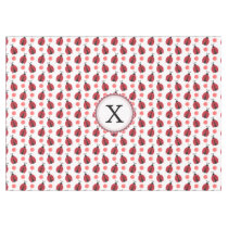 Personalized monogram watercolor Ladybugs Tablecloth