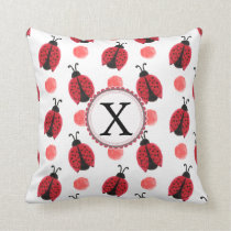 Personalized monogram watercolor Ladybugs Throw Pillow