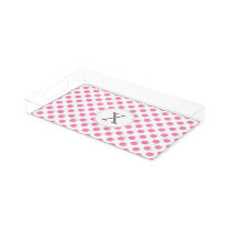 Personalized monogram watercolor pink polka dots acrylic tray