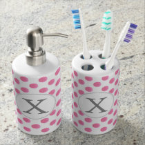 Personalized monogram watercolor pink polka dots bathroom set