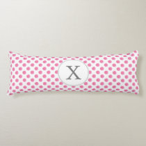 Personalized monogram watercolor pink polka dots body pillow
