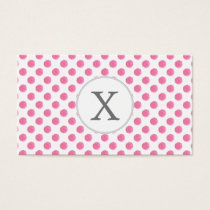 Personalized monogram watercolor pink polka dots business card