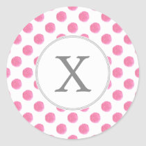Personalized monogram watercolor pink polka dots classic round sticker