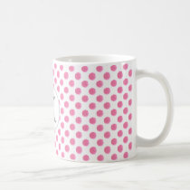 Personalized monogram watercolor pink polka dots coffee mug