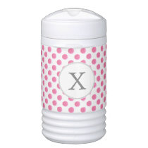 Personalized monogram watercolor pink polka dots cooler