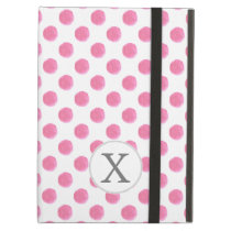 Personalized monogram watercolor pink polka dots cover for iPad air