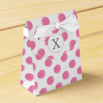 Personalized monogram watercolor pink polka dots favor box