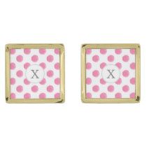 Personalized monogram watercolor pink polka dots gold cufflinks