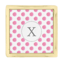 Personalized monogram watercolor pink polka dots gold finish lapel pin