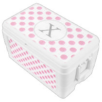 Personalized monogram watercolor pink polka dots ice chest