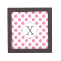 Personalized monogram watercolor pink polka dots keepsake box