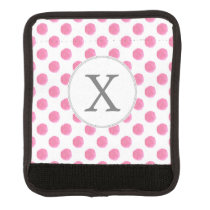 Personalized monogram watercolor pink polka dots luggage handle wrap