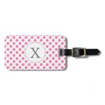 Personalized monogram watercolor pink polka dots luggage tag