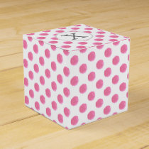 Personalized monogram watercolor pink polka dots P Favor Box