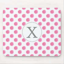 Personalized monogram watercolor pink polka dots P Mouse Pad