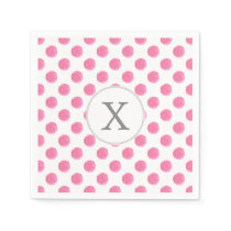 Personalized monogram watercolor pink polka dots paper napkin