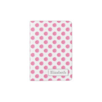 Personalized monogram watercolor pink polka dots passport holder