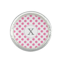 Personalized monogram watercolor pink polka dots photo rings