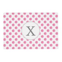 Personalized monogram watercolor pink polka dots placemat