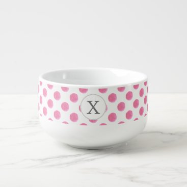 Personalized monogram watercolor pink polka dots soup mug
