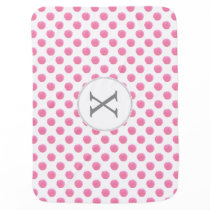 Personalized monogram watercolor pink polka dots swaddle blanket