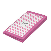 Personalized monogram watercolor pink polka dots trifold wallet